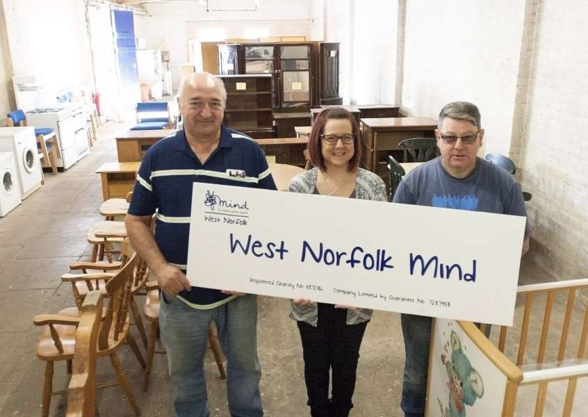 Closure of West Norfolk Mind Furniture Shop Bits and Pieces. Pictured FLtoR Malcom Skillings. Louise Howard. Jeremy Whiley. at Saunders Yard King's Lynn.