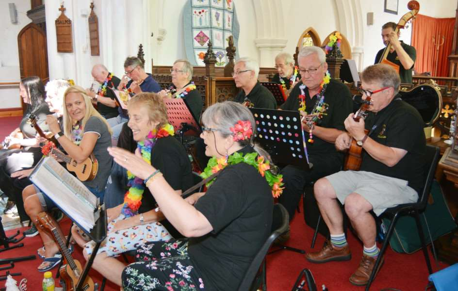 NECTON CHURCH FLOWER FESTIVAL'King's Lynn Ukulele Club band energetically entertain