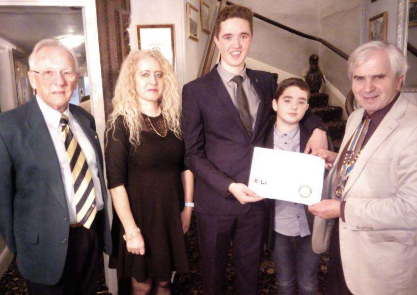 Downham Market Rotary Club presenting a certificate to Luke Fey. From left, John Rice of Rotary, Paula Fey, Luke Fey, Callum Fey, and Rotary president Martin Chilvers. Photo: SUBMITTED.