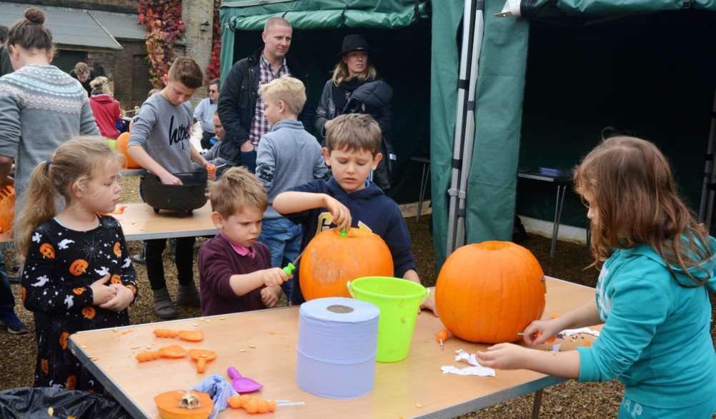 Holkham Halloween'Youngsters prepare pumpkins