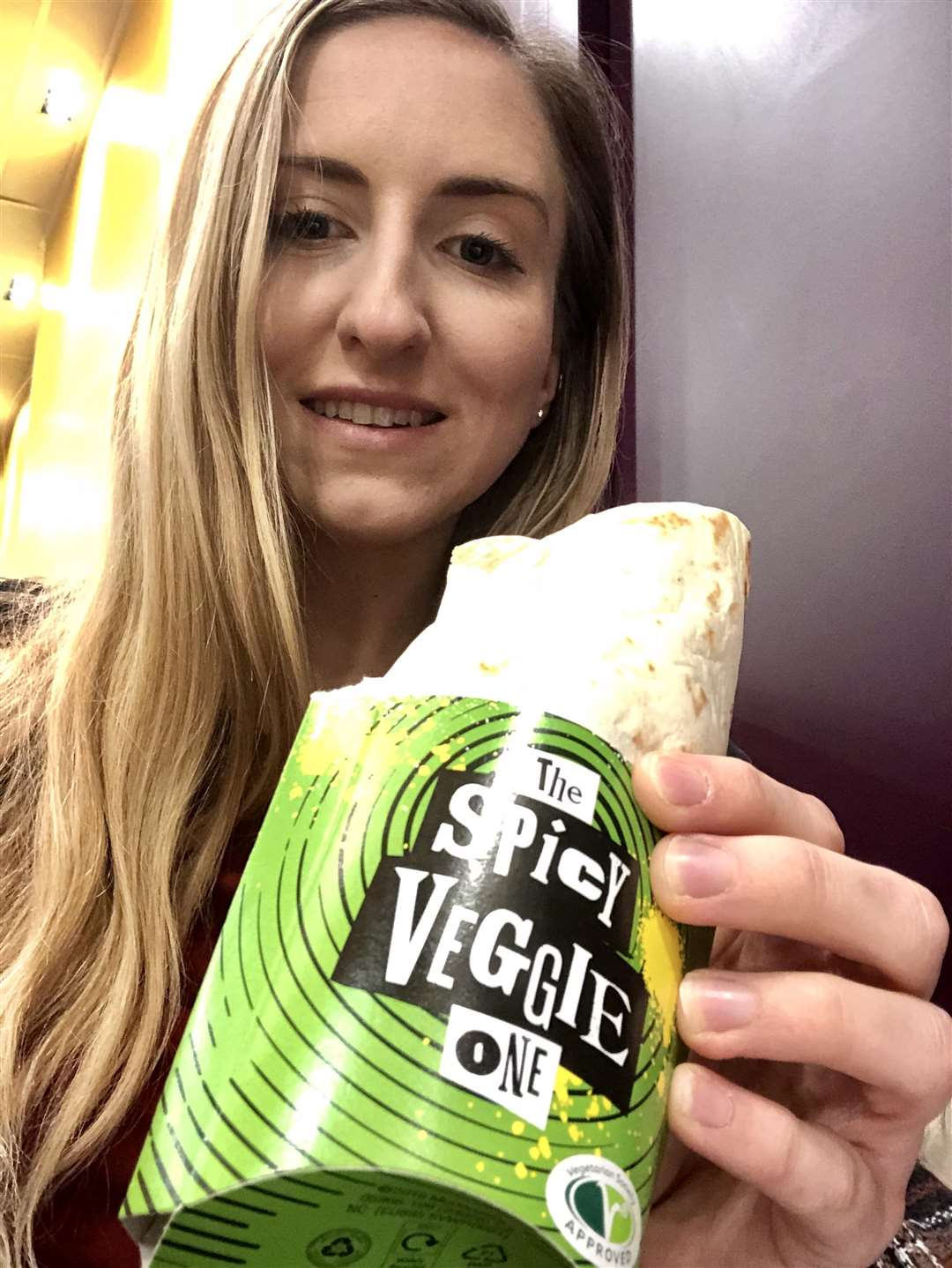 Veggie feature - reporter Rebekah Chilvers with McDonalds' new the Spicy Veggie One wrap. (6355846)