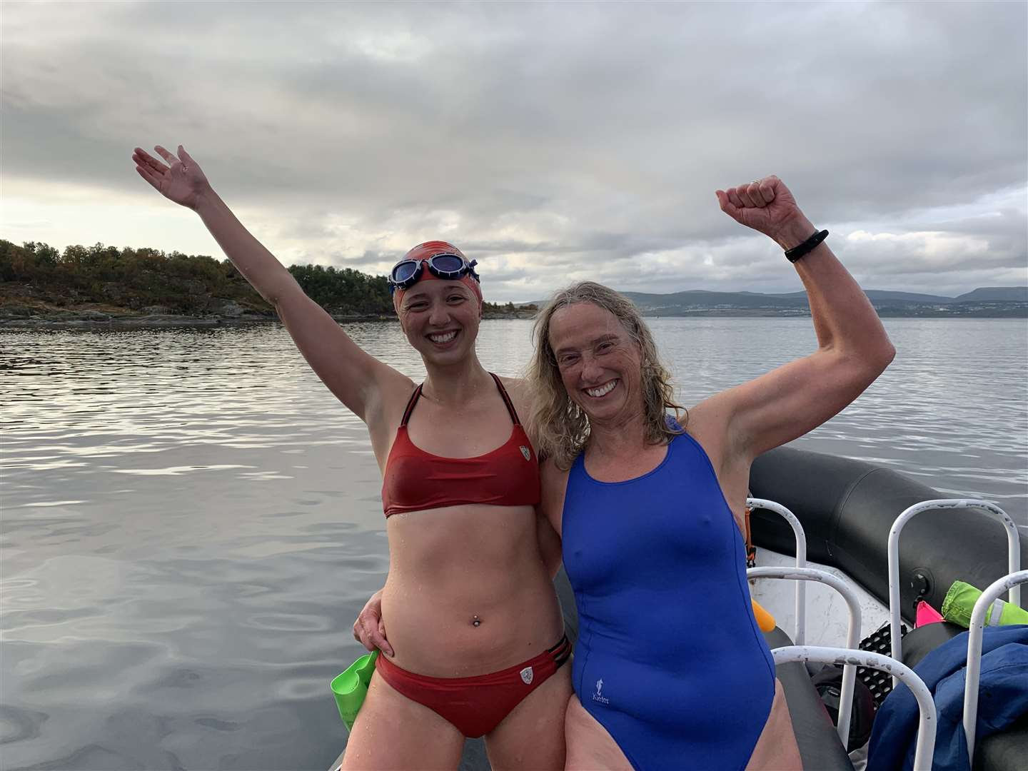 Ellen and Sarah Taylor completed the swim without wetsuits