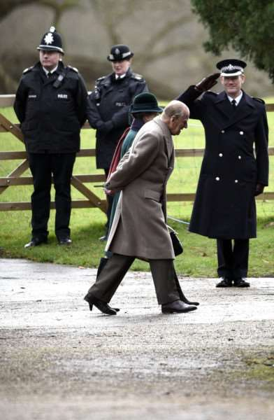 Duke of Edinburgh attending morning service at Sandringham