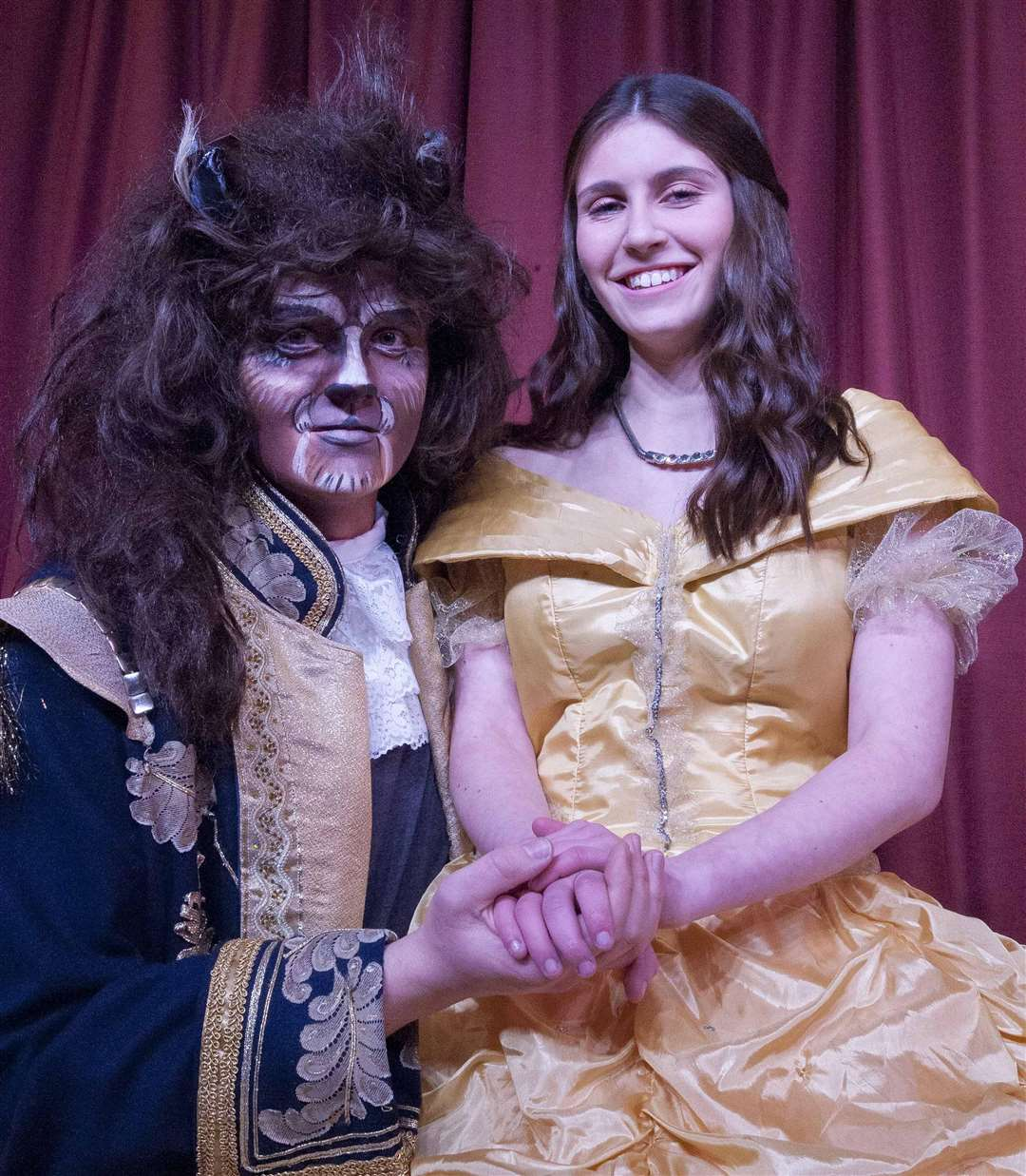 "Pocohontas Players Heacham Pantomine ""Beauty & The Beast"". Pictured Principals Tom Whybrow (The Beast) Kelsie Hall (Belle). (6537331)"
