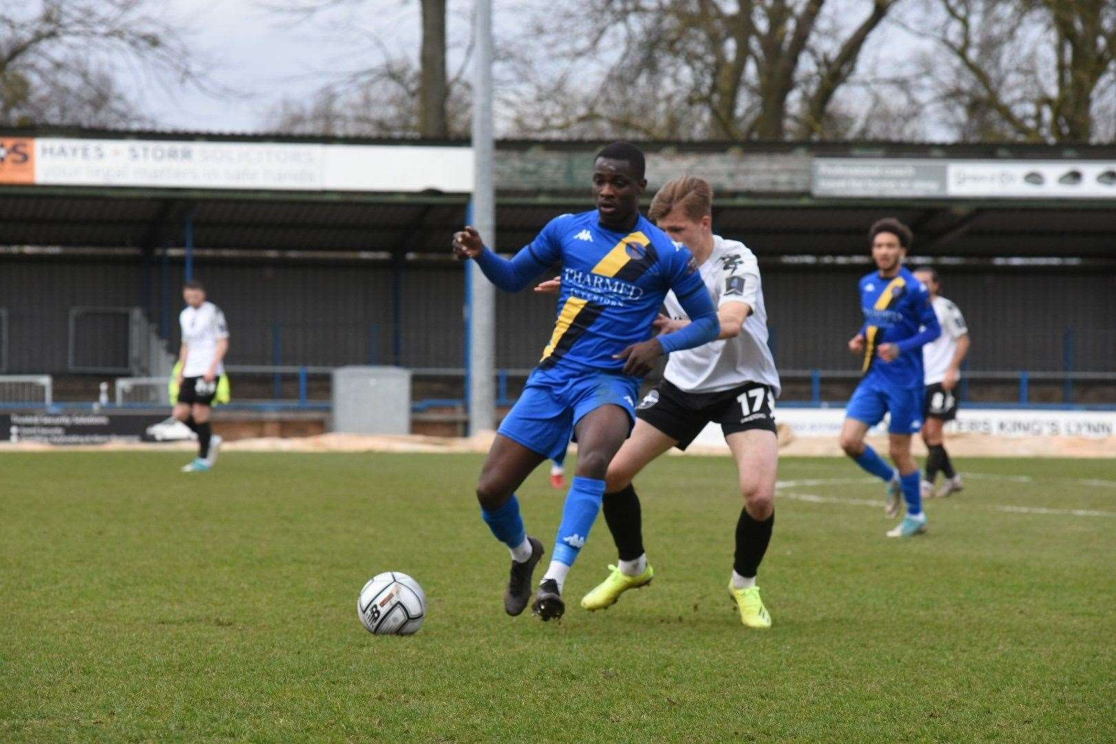 Lynn's Michael Gyasi who equalised early in the second half. Picture:Tim Smith. (45577323)