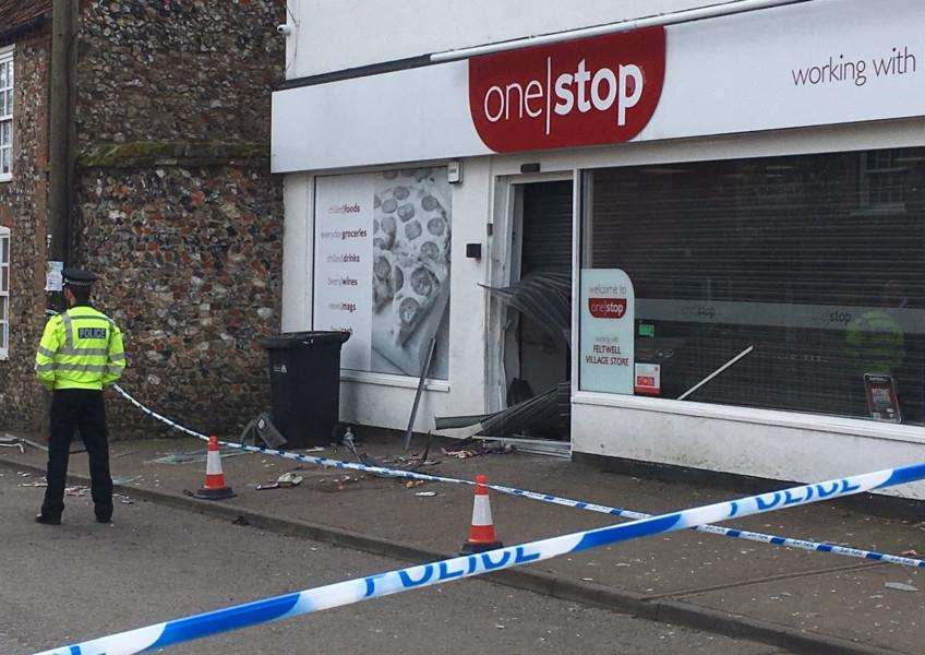 The scene at the One Stop store in Feltwell following the raid during the early hours of Monday, April 16