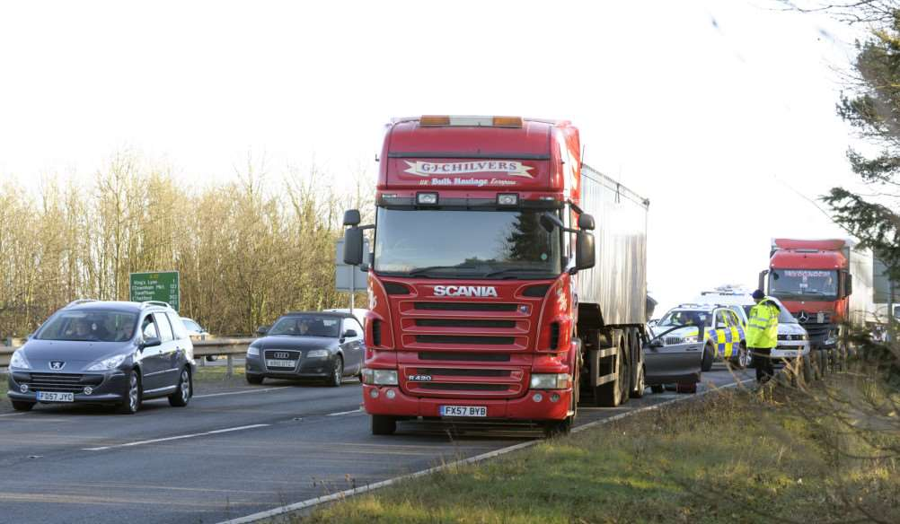 The Scene of an accident approaching the Pullover Roundabout King's Lynn involving a car and lorry