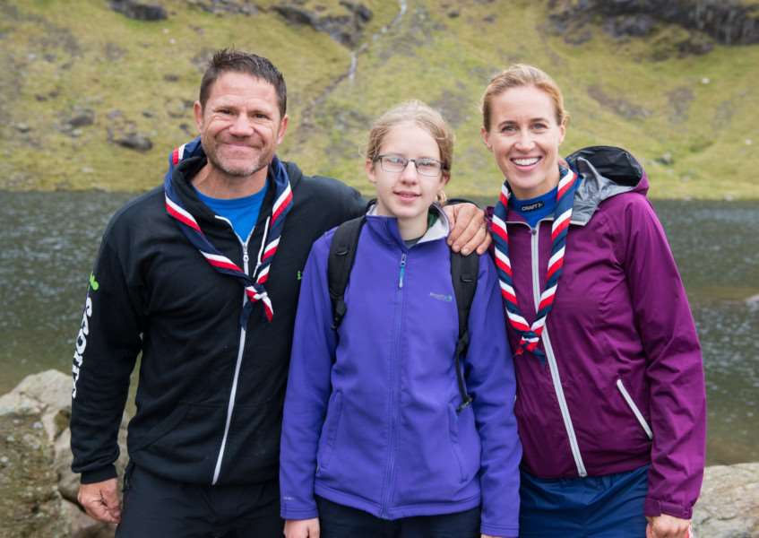 Abi Karreman, centre, with Scout ambassadors Steve Backshall and Helen Glover. Photo: SUBMITTED.