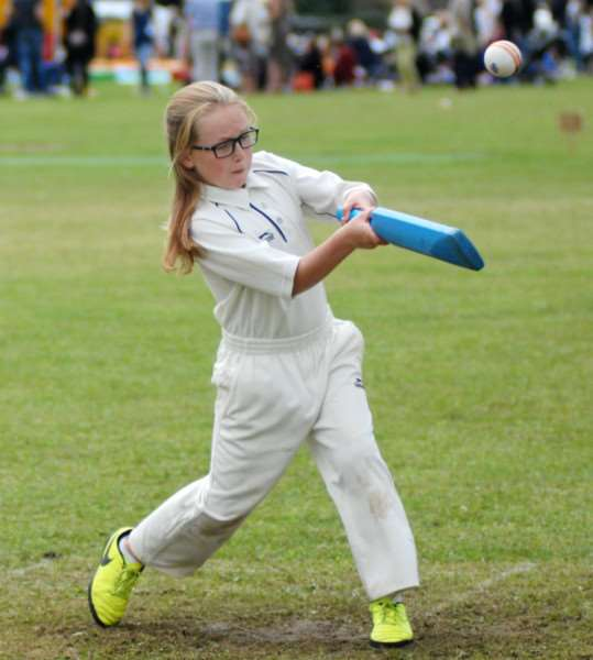 DENVER FUN DAY'Ellen Buckley hits out in the Kwik Cricket event