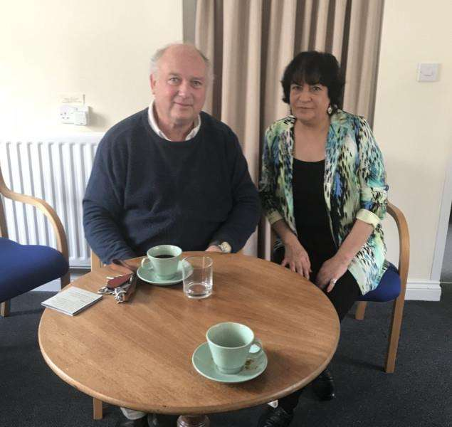 Louis de Bernieres at the inaugural meeting of the King's Lynn Poetry Group with group founder Andee Georgiou