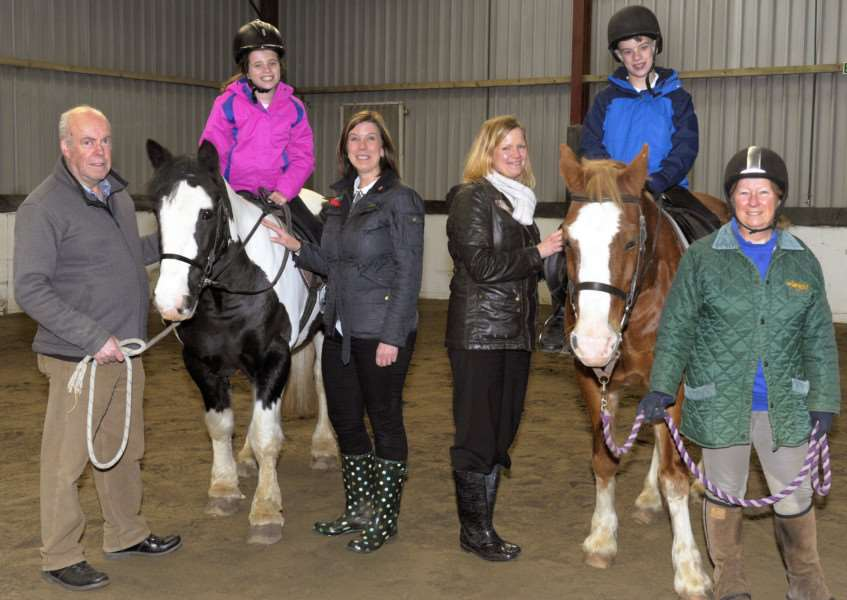 Magpie Centre, Wallington Hall. Feature about RDA'LtoR, Gerry McKenna (volunteer), Sophie Clarke, Mandy Seaton, Adele Pool (teaching assistant at St Peter's jnr school Wisbech), Lewis Clarke, Sheila Atthowe (volunteer). Ponies are LtoR, Sully and Rye