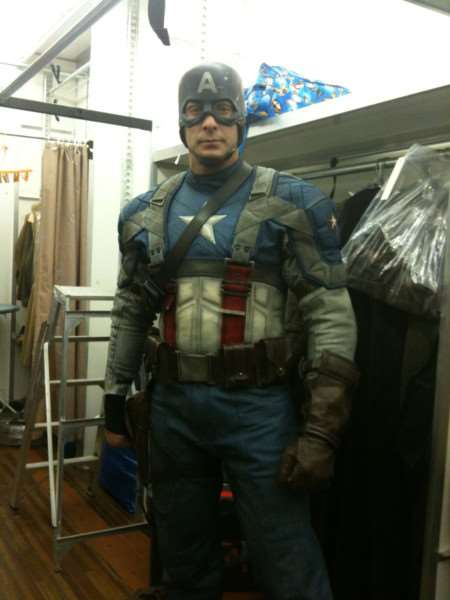 Ben Wright working as a stunt double for Captain America. Photo: SUBMITTED.