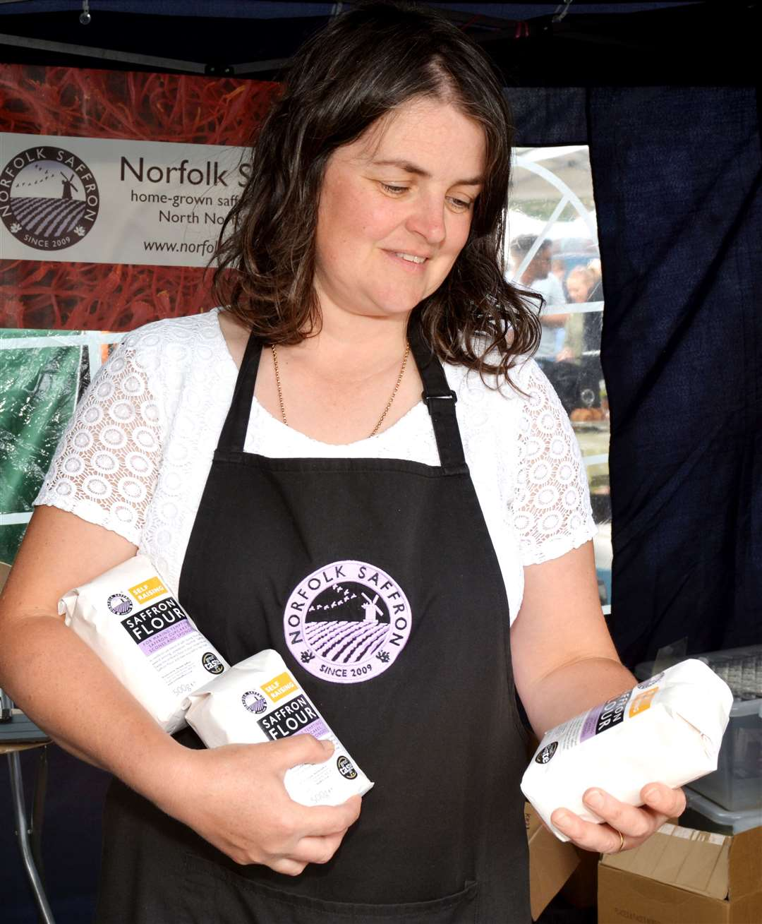 Sally Francis with Saffron Flour, one of her range of new saffron products (16130311)