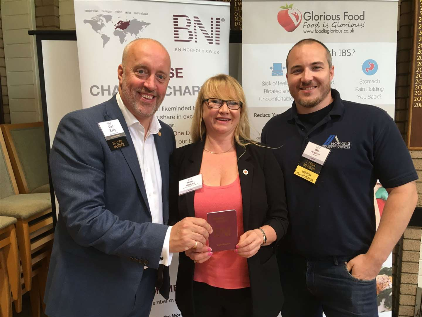 Pictured, from left, are Dan Kelly, BNI Norfolk Executive Director, Helen Mileham, of Glorious Food, and Will Hopkins, of Hopkins Property & BNI Passport Mentor (14273342)