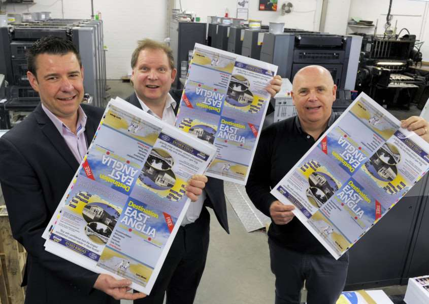 Mark Leslie and Scott Young from the Lynn News take delivery of new Destination East Anglia visitors' guide covers as it rolls off the press.''LtoR, Scott Young, Mark Leslie, Shaun Simpson (MD DSD Colour Printers)