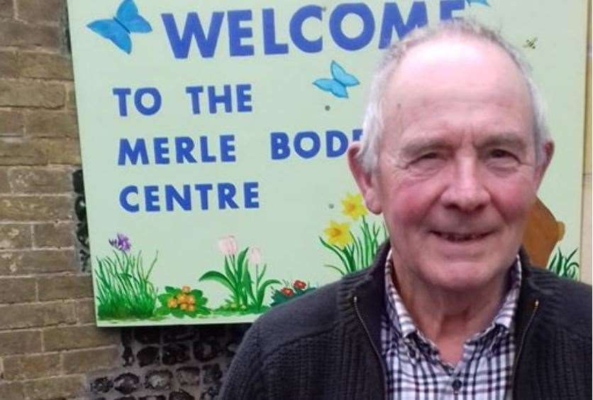 Peter Harris is pictured outside the Merle Boddy Centre in Swaffham, which he is raising funds for. Picture: SUBMITTED