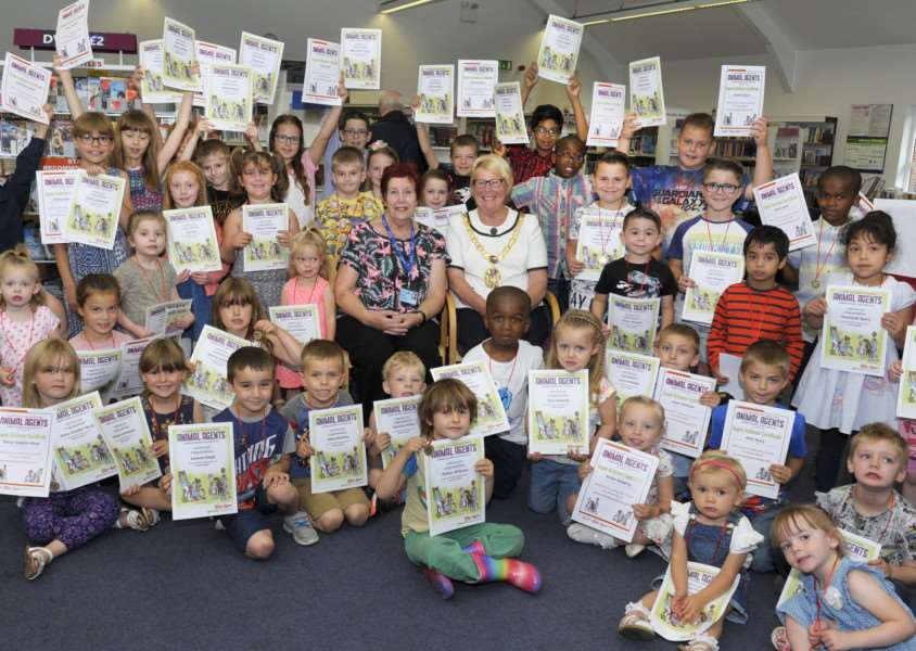Summer Reading Challenge Certificate and Medal Presentations at Gaywood Library on Saturday 2nd Sept.'Making the presentations were Borough Mayor Carol Bower and Borough Councillor Margaret Wilkinson, with the children.