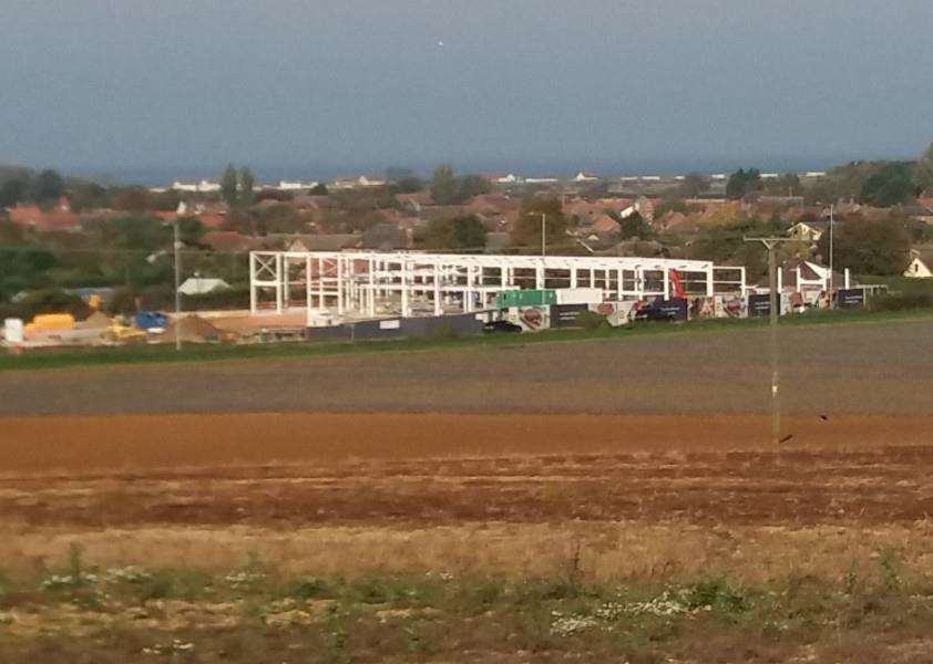 Construction work continues at the new Lidl store in Heacham with the framework taking shape.