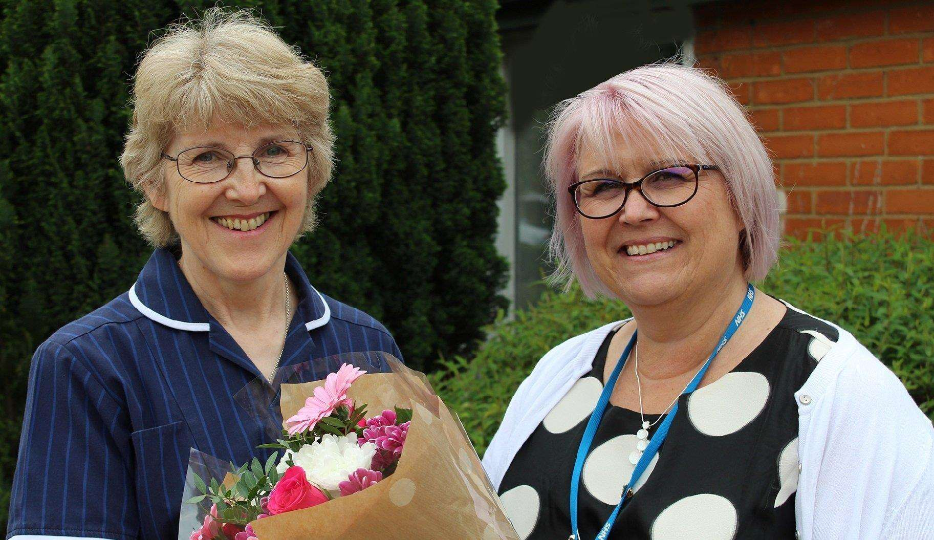 Nurse practitioner Sarah Beart is celebrating 40 years with the NHS with Sarah Jane Ward director of nursing and quality assurance at West Norfolk CCG