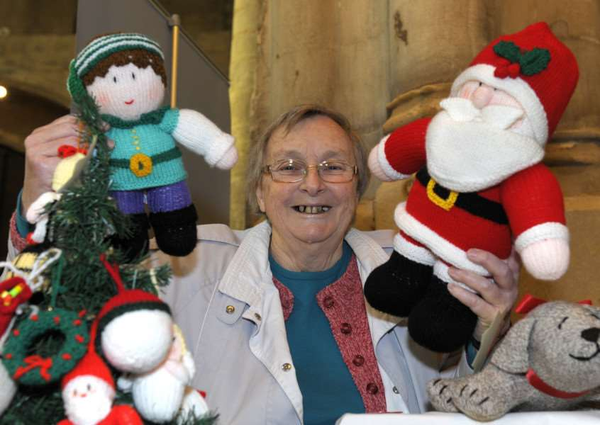 King's Lynn Minster Christmas Fayre to be opened by Borough Deputy Mayor Jim Moriarty 'LtoR, Carol Hall with her handmade Knitted Soft Toys