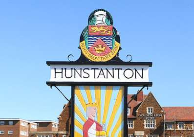 the town sign on the green, Hunstanton.