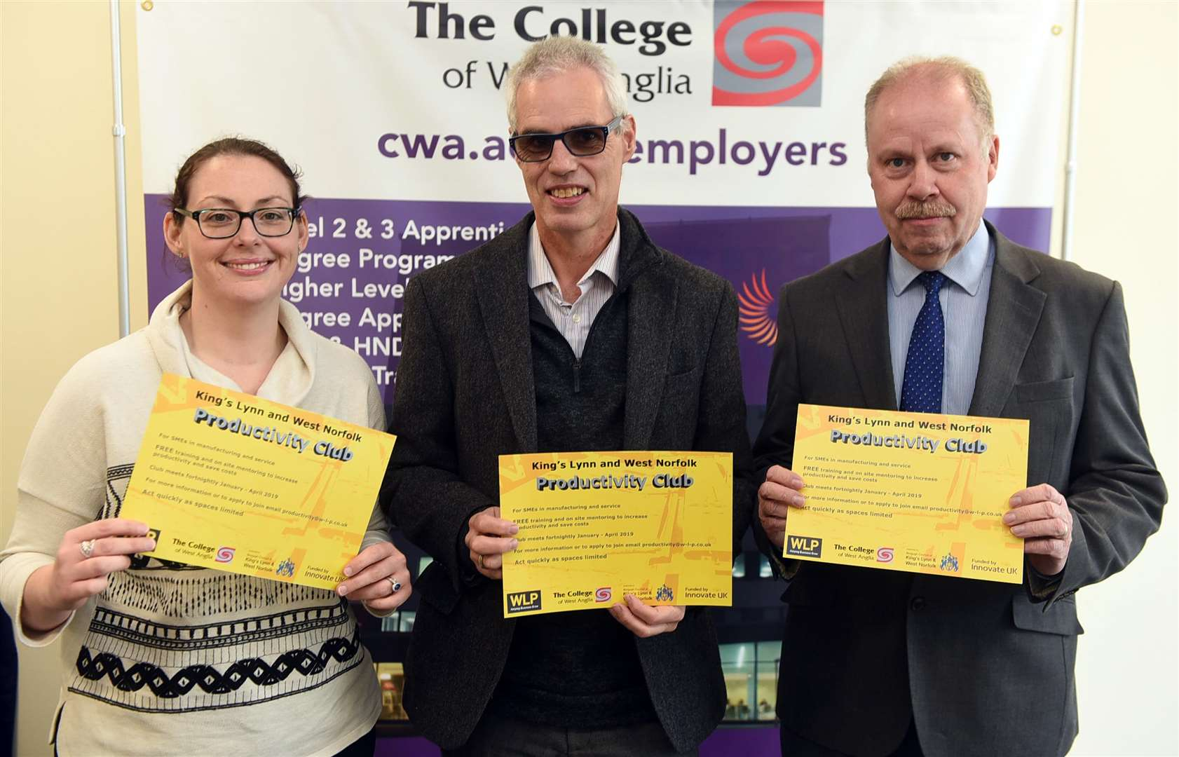 Pictured, from left, are partnership and business liaison supervisor at the college Mandy Lakey, Steve Palmer and college head of employer liaison, partnerships and commercial training Paul Smith. MLNF-18AF1209