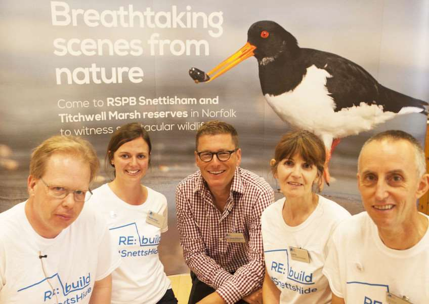 RSPB Appeal Launch at Snettisham Village Hall. Pictured FLtoR Steve Roland. Hayley Roan. Dr James Robinson. Carrie Carey. Jim Scott.