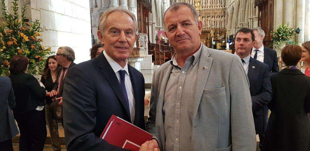 Kevin Holland, owner of The Solar Shed in Magdalen, with former Prime Minister Tony Blair at the memorial service for politician Tessa Jowell. Picture: SUBMITTED. (4910131)