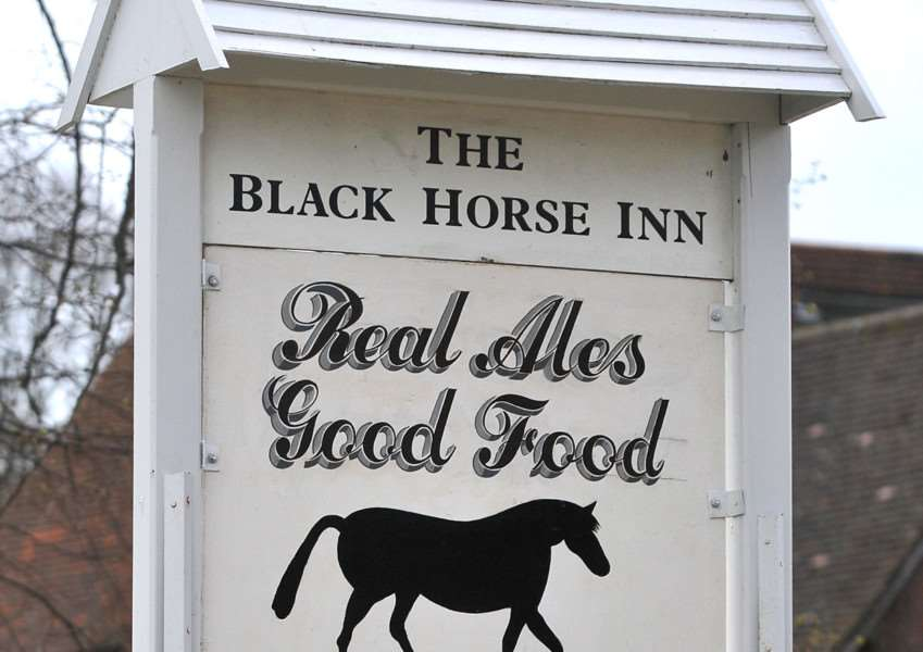 Village view - the sign of the Black Horse.