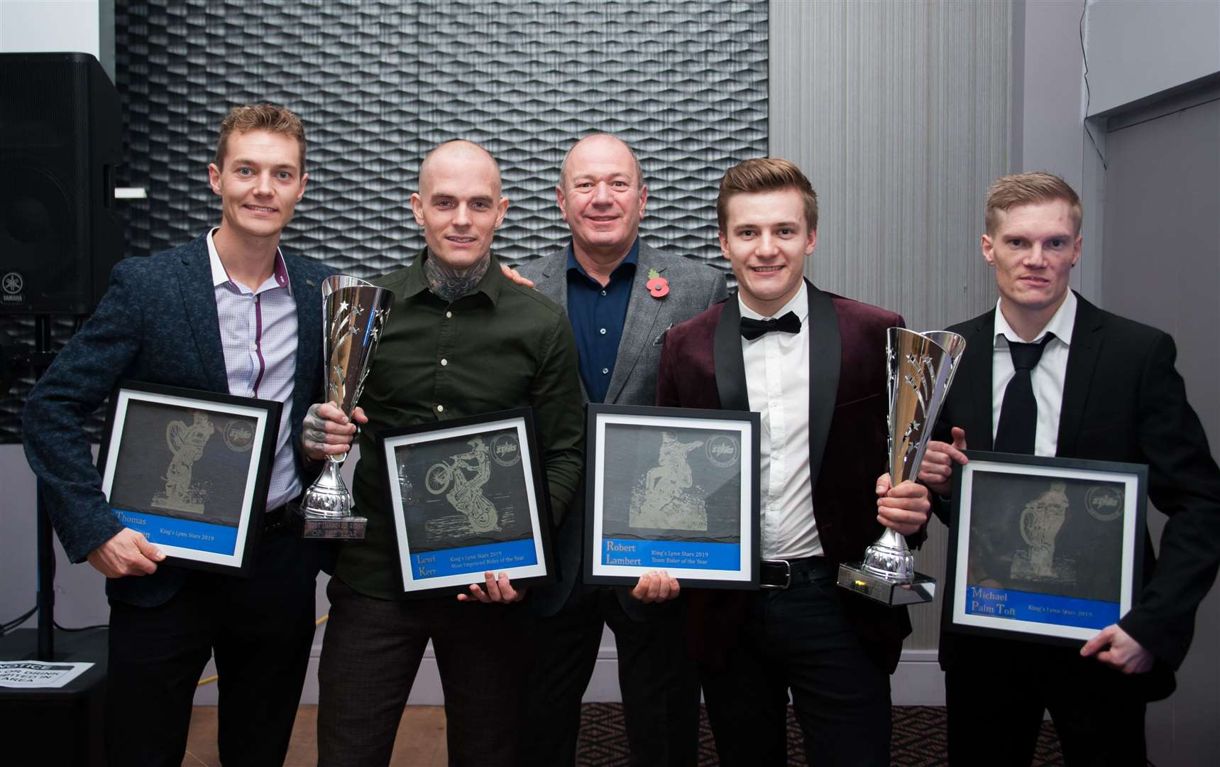 At the King's Lynn Stars presentation night are (from left) Thomas Jorgensen, Most Improved Rider of the Year Lewis Kerr, Co-Promoter Robin Brundle, Team Rider of the Year Robert Lambert and Michael Palm-Toft.. (20756384)