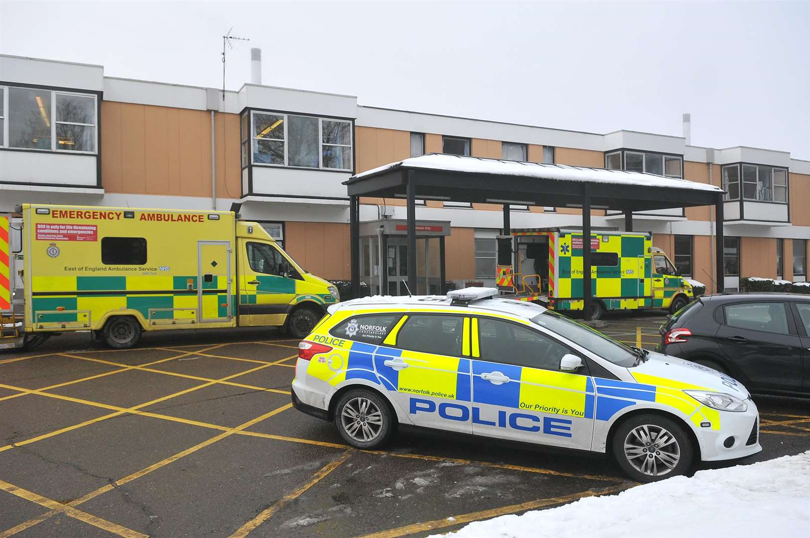Views of the Queen Elizabeth Hospital. Entrance to Accident and Emergency