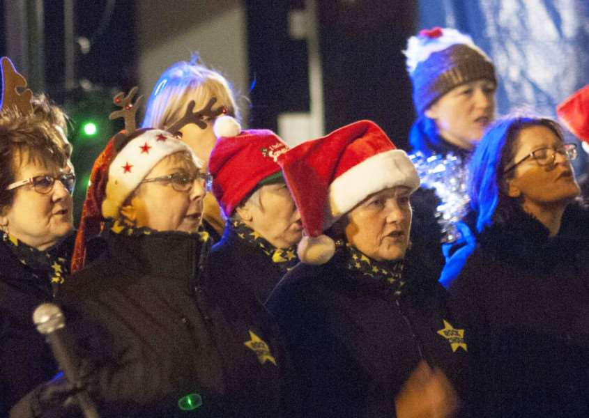 Christmas Lights Switch On at Hunstanton. Pictured The King's Lynn Rock Choir performing.