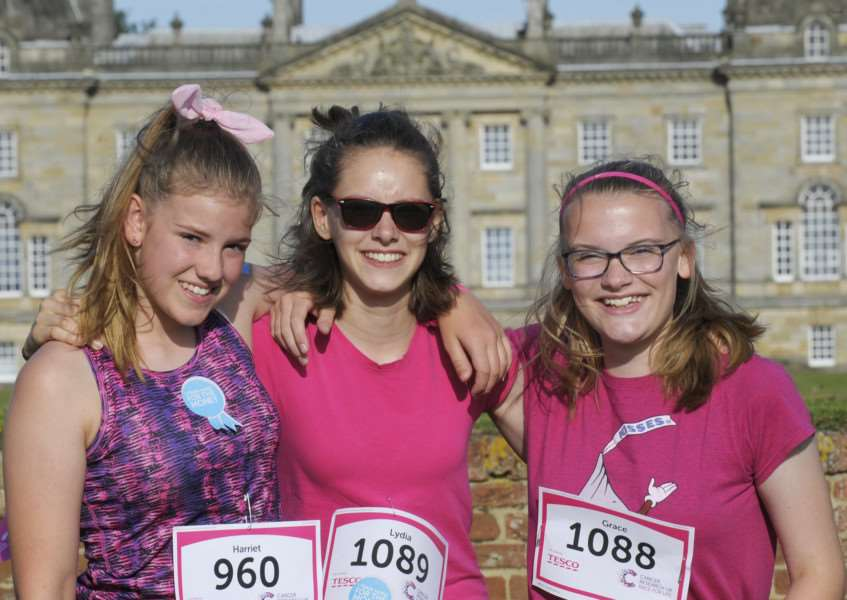 Race for Life 2017 at Houghton Hall iao of Cancer Research UK'Downham Market Academy students taking part, LtoR, Harriet Rawson, Lydia Winskill, Grace Spencer.