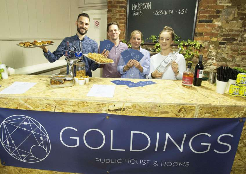 New Pub Goldings Opens at the former Wenns. Pictured FLtoR Jess Marlow. Richard and Lucy Golding( Owners) Kate Anderson.