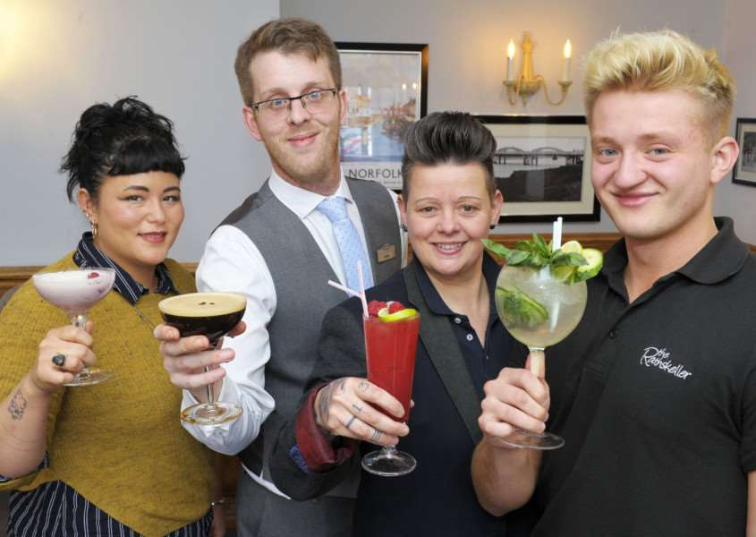 King's Lynn Cocktail Week Preview at the Dukes Head Hotel, Tuesday Market Place.'Launching the the event (LtoR), Junno Tostevin (Archers Kitchen), David Kneeshaw (Dukes Head Hotel), Elise Rout (Nip and Growler Ale House), 'Marius White (The Rathskeller)