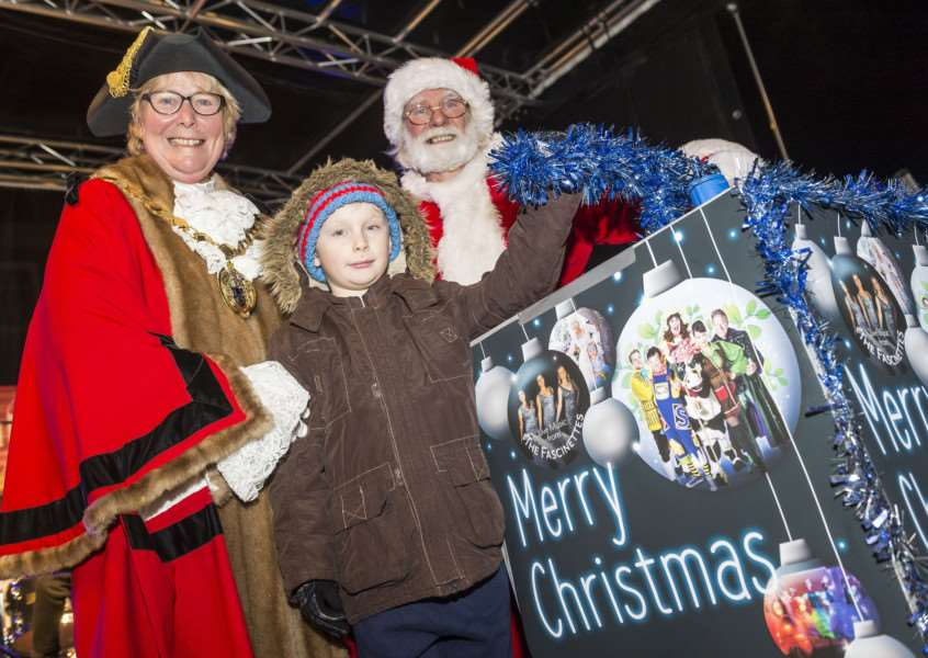 "Scenes from the King�""s Lynn Chirstman Lights Switch On 2017 - Thomas Paterson (8) lights up the Chrstmas lights."
