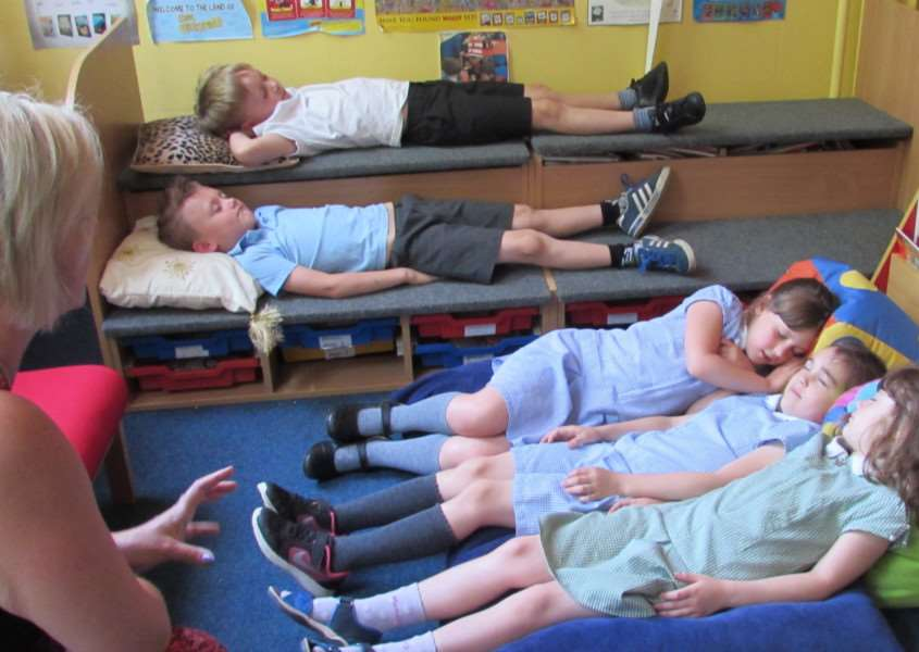 Pupils from Heacham Infant and Nursery School during a relaxation workshop run by The Wellbeing People.