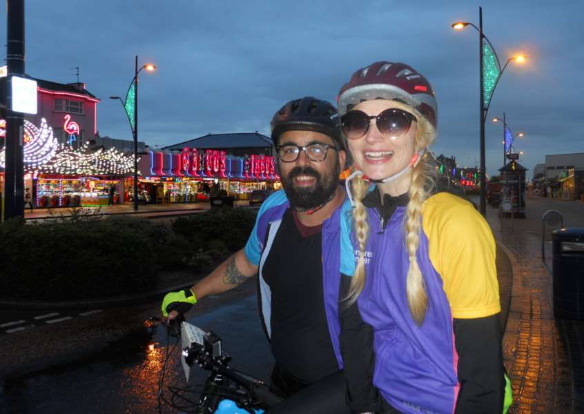 Heidi and Stephen Potter on their 99 for a 99 cycling challenge. Photo: SUBMITTED.