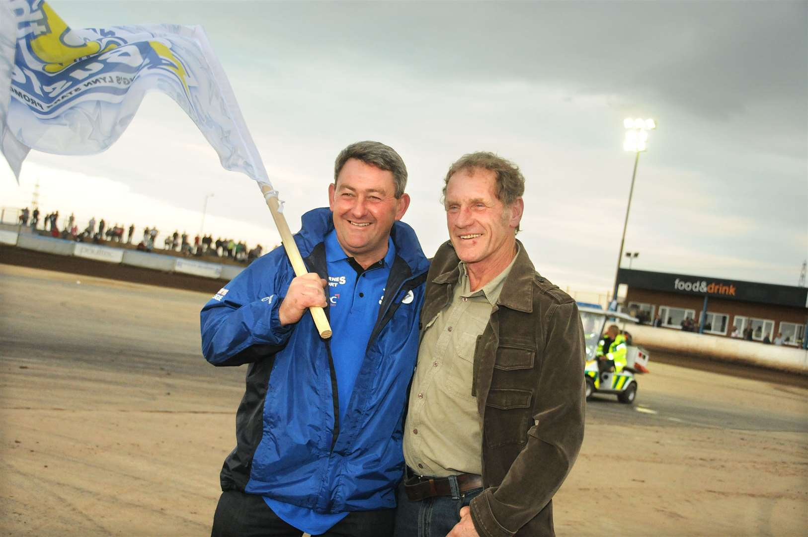 King's Lynn Stars speedway hold a special meeting against Peterborough Panthers celebrating Keith Buster Chapman's 20th Anniversary of ownership at the Norfolk Arena. Buster Chapman with Terry Betts.. (35378833)