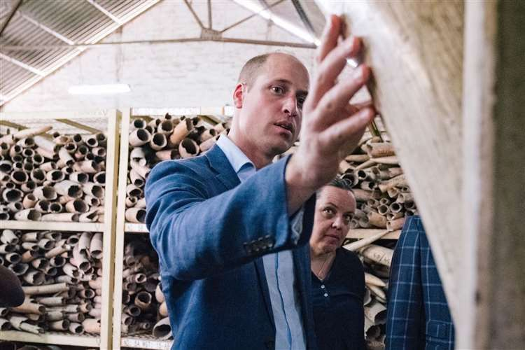 During a visit to Tanzania, the duke was shown a stockpile of ivory (Kensington Palace/PA) (42547931)
