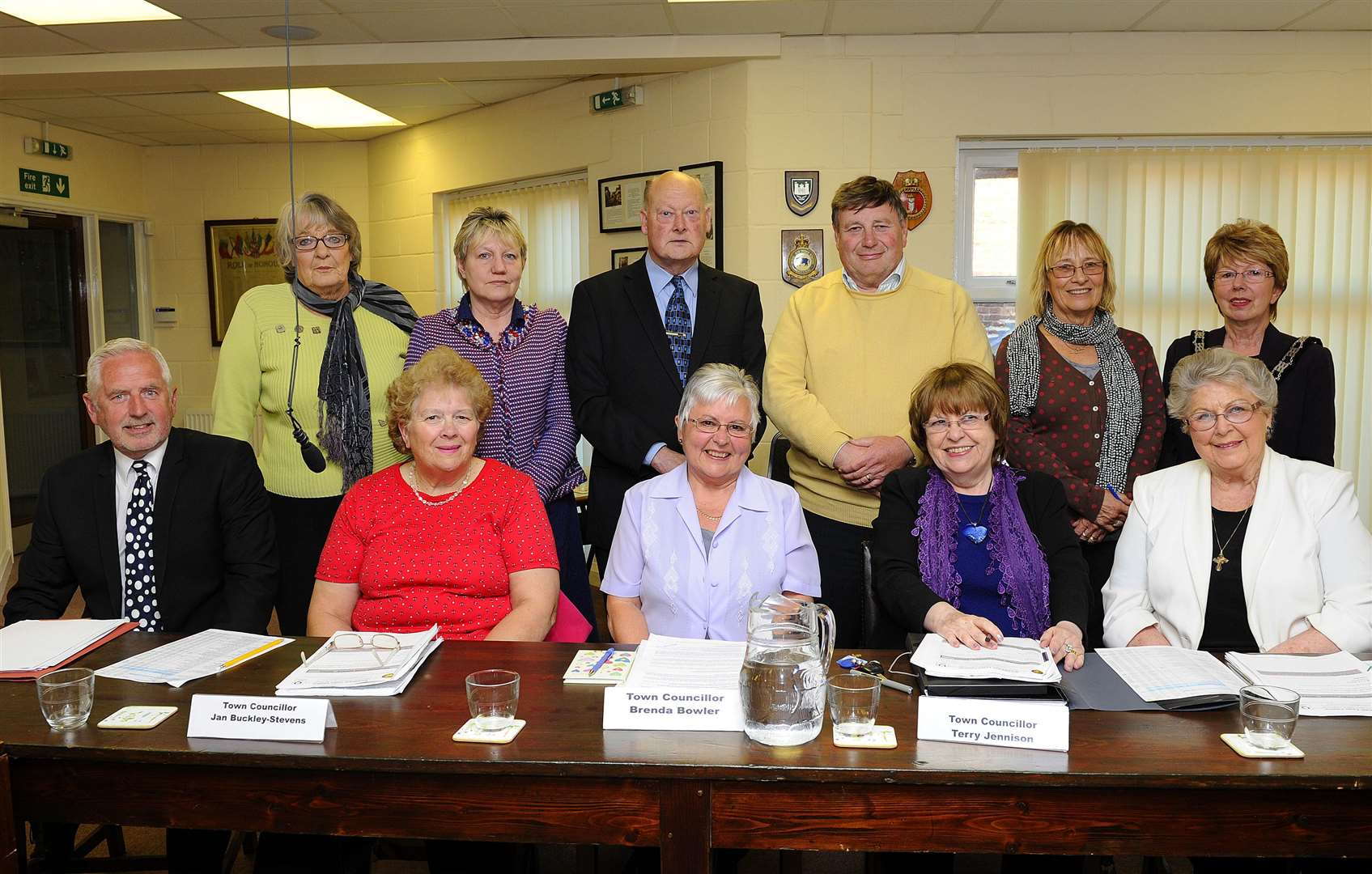 Swaffham Town Council Meeting at the Town Hall LtoR, Back, Sheila Lister, Wendy Bensley, Paul Darby, Colin Houghton, Jill Skinner, Anne Thorp LtoR, Front, Steve Allen, Jan Buckley-Stevens, Brenda Bowler, Terry Jonnison, Shirley Matthews