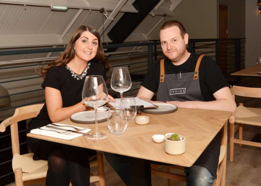 Dan Lawrence and Natalie Stuhler planning their future in Socius, the new restaurant in Burnham Market.