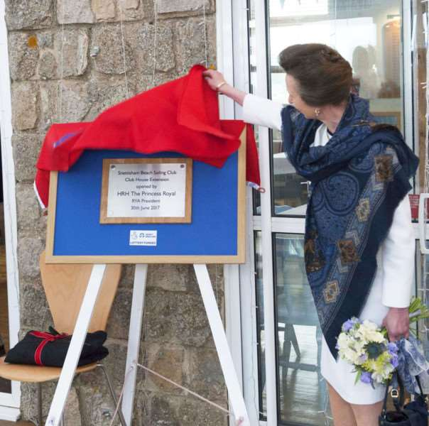 Princess Anne opens newly refubished Snettisham Beach Sailing Club clubhouse.