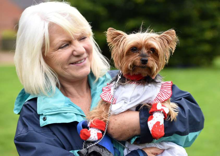 All Saints Dog Show in aid of church heating and lighting fund on the village green at Wretton''Carol Murphy with Dolly